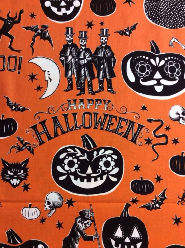 Alexander Henry Halloween Crafty Calaveras Dia De Los Muertos Halloween Skeleton Cotton Fabric Quilt Fabric AH65