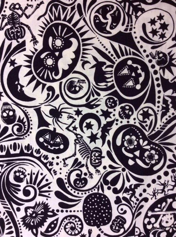 Dia De Los Muertos Midnight Muertos Spooky Devil Cotton Fabric Quilt Fabric AH66