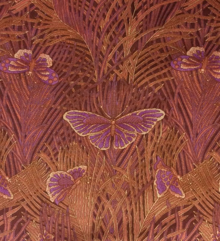 Alexander Henry Butterflies Feathers Palm Leaves Frond Lawn Cotton Apparel Fabric AH79