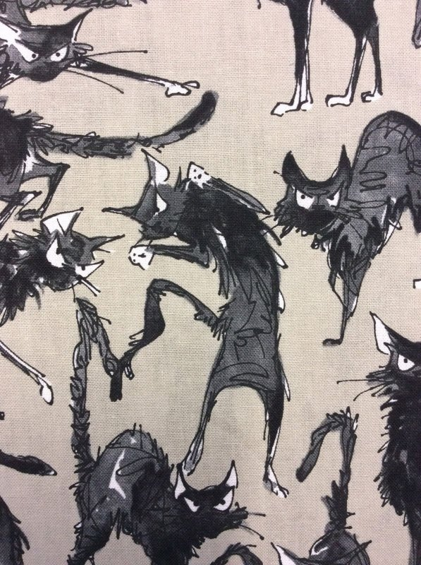 Ghastlies Cat Alexander Henry Spooky Taupe Cotton Fabric Quilt Fabric AH80