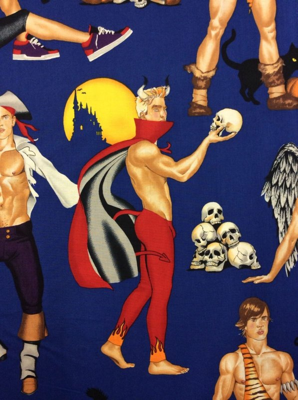 Sexy Pin-Up Halloween Hot Hunks Angel Devil Cotton Fabric Quilt Fabric AH81
