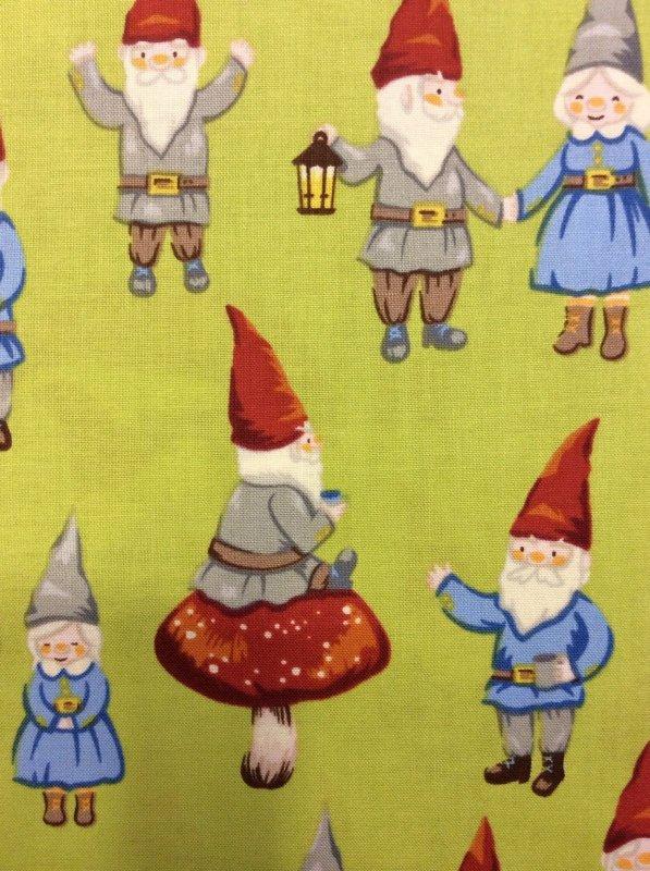 FAT QUARTER! Mr & Mrs Gnome Mushrooms Red Hats Cute Friendly Cotton Fabric Quilt Fabric RPFAH82