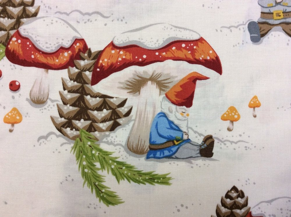 Fat Quarter! Alexander Henry Winter Gnomes Mushrooms Pinecones Snow Red Hats Cotton Fabric Quilt Fabric FQAH83