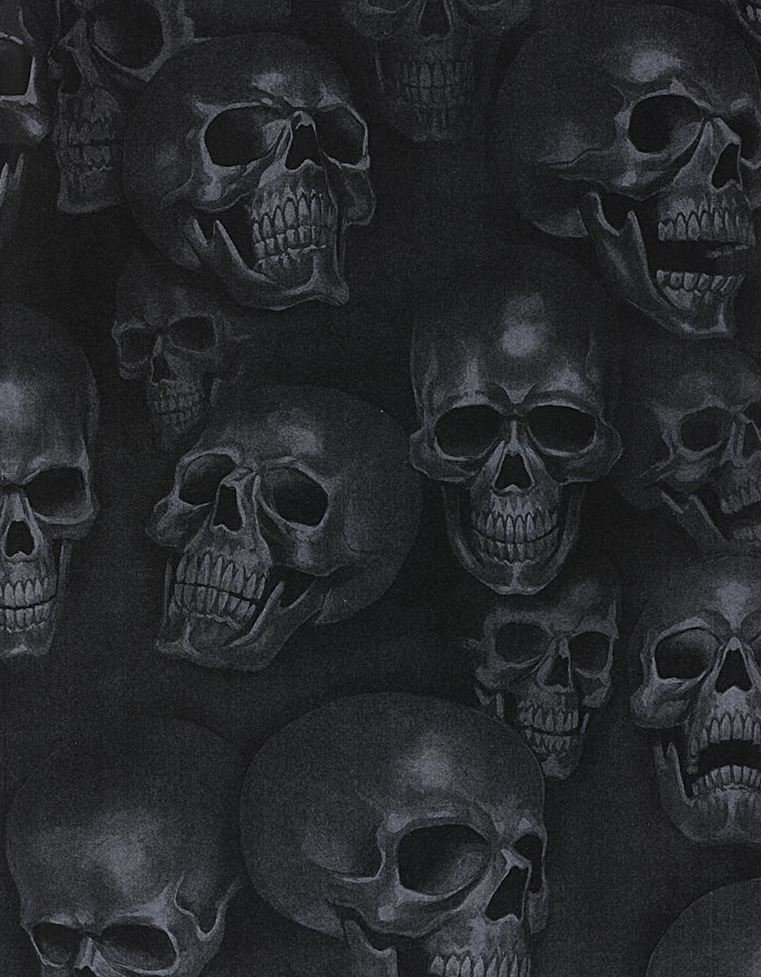 Skulls Mist and Bone Anatomical Skulls Biker Goth Outsider Art Cotton Quilt Fabric AH293
