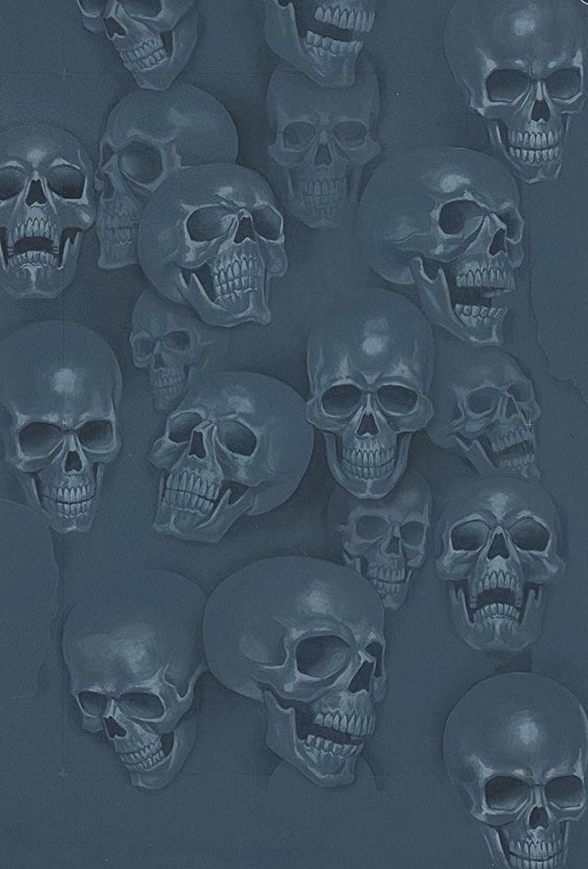 Skulls Mist and Bone Anatomical Skulls Biker Goth Outsider Art Cotton Quilt Fabric AH292