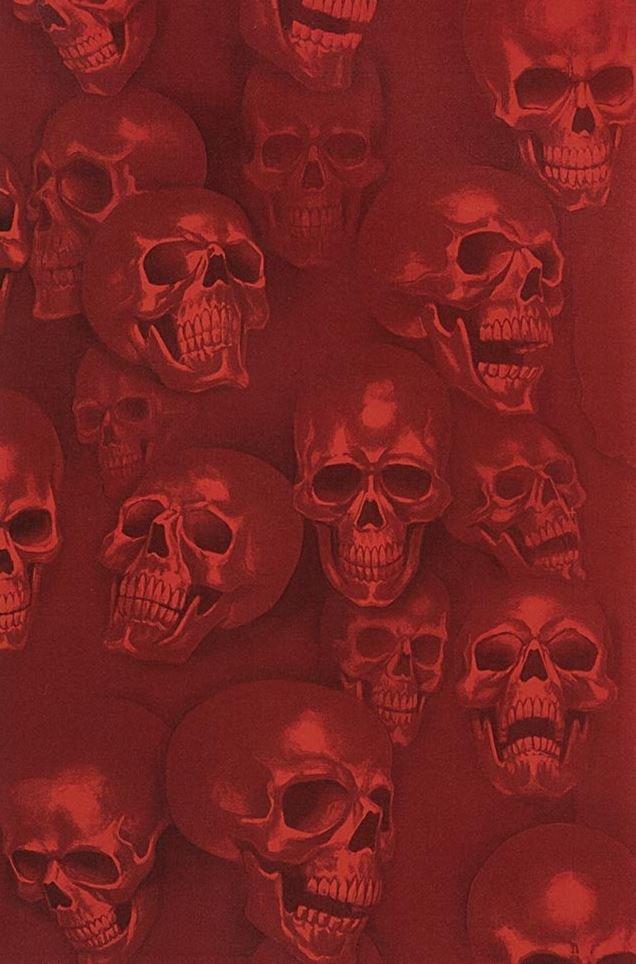 Skulls Mist and Bone Anatomical Skulls Biker Goth Outsider Art Cotton Quilt Fabric AH294