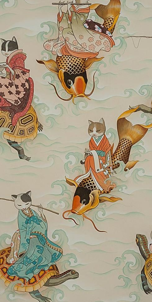 Asian Fishing Feline Japanese Style Kitty Cat Fisherkitties Cotton Quilt Fabric AH278