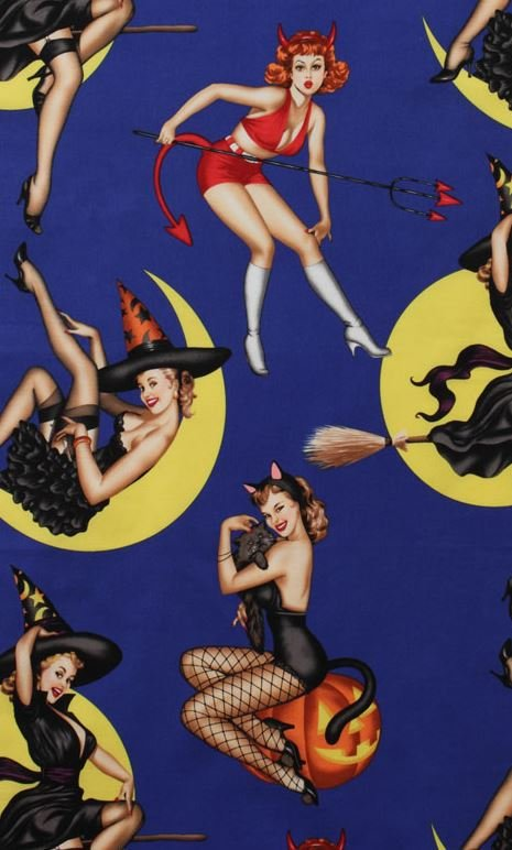 Bewitched Sexy Pin Up Girls Retro Witch Devil Temptress Alexander Henry Cotton Quilt Fabric AH288