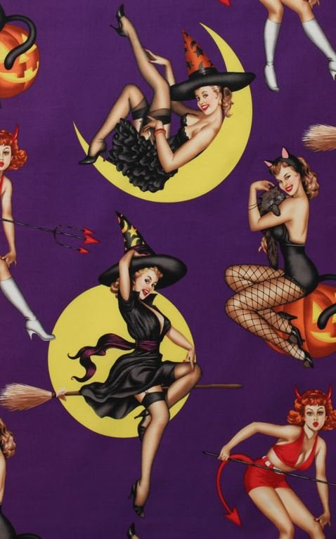 Bewitched Sexy Pin Up Girls Retro Witch Devil Temptress Alexander Henry Cotton Fabric Quilt Fabric AH289
