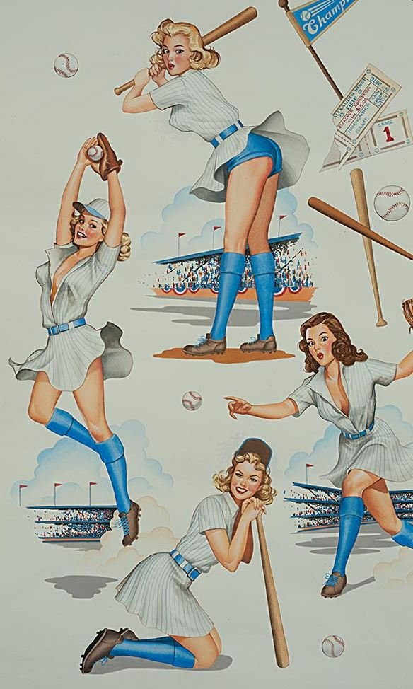 Sexy Pin Up Girls Retro Swingers Baseball Players Alexander Henry Cotton Quilt Fabric AH283