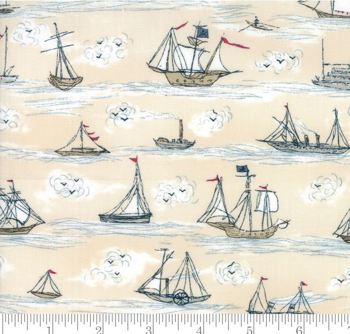 Ahoy Clipper Ship Sloop Sailboat Sailing Yacht Ocean Sea Moda Cotton Quilt Fabric Mo124