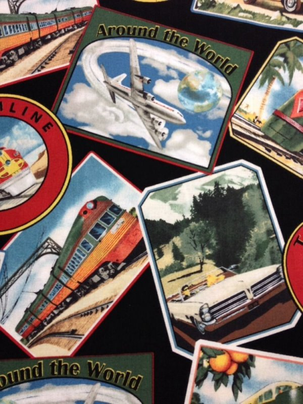 Retro Airplanes Automobiles Trains Silver Bullet Cotton Fabric Quilt Fabric WI06
