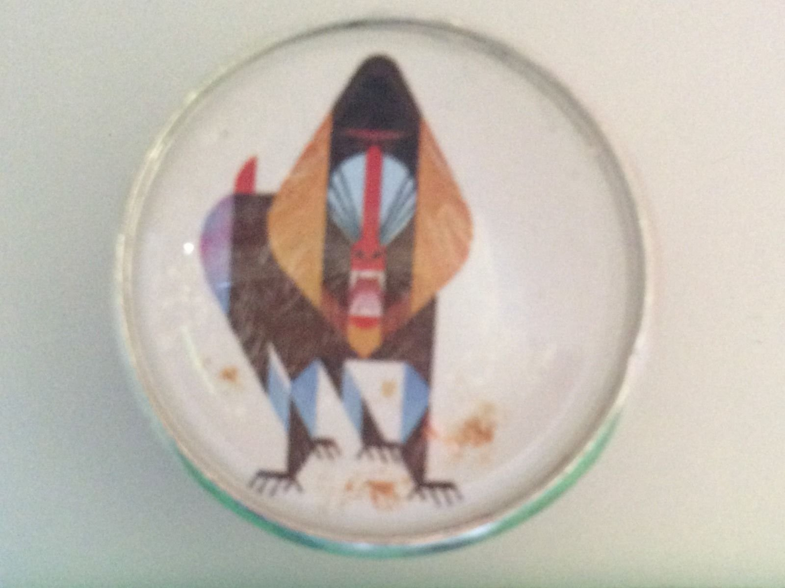 Charley Harper Mandrill Threat Baboon Monkey 1 Glass Sewing Button Charles AK12
