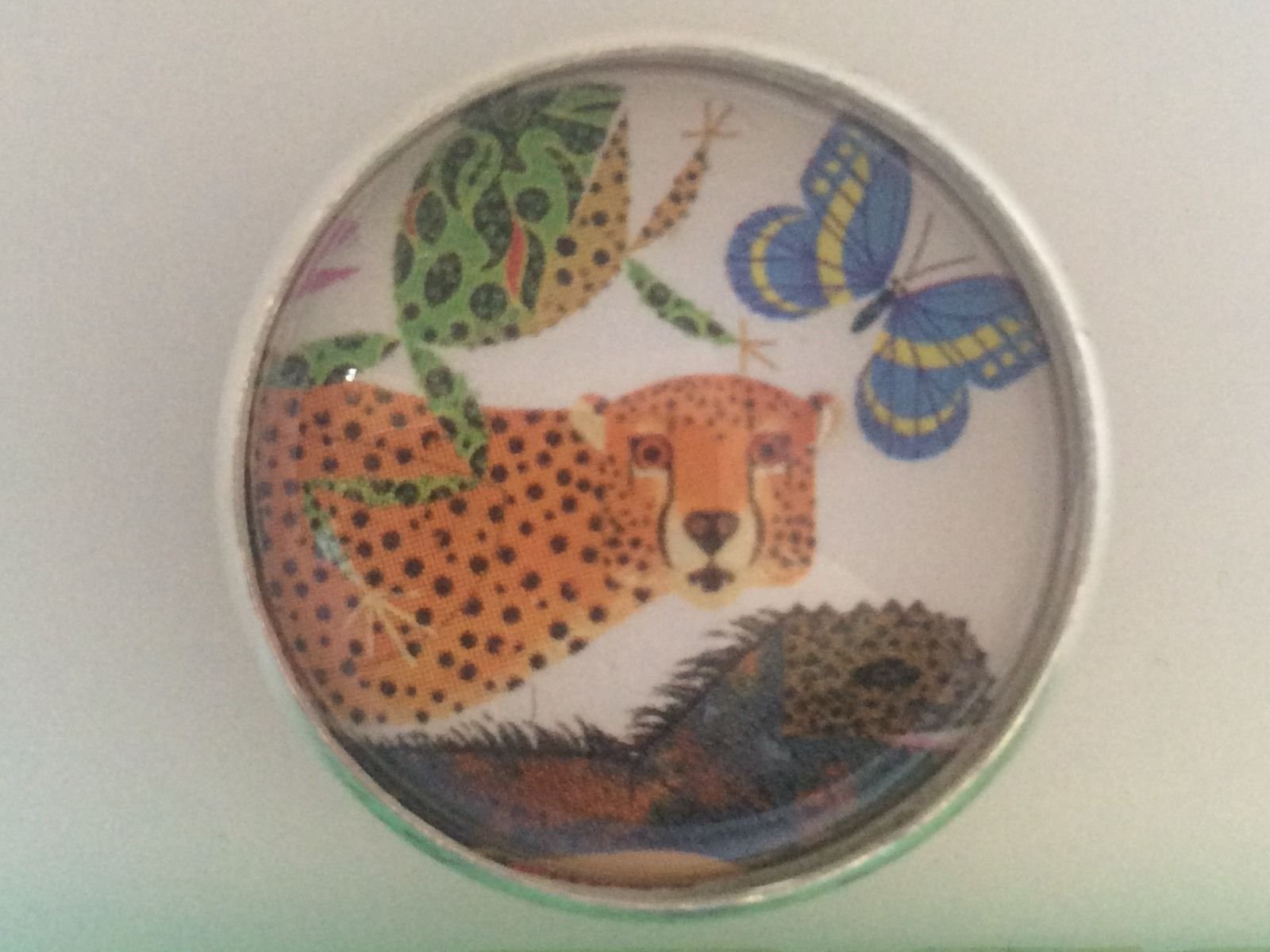 Charley Harper Cheetah Frog Jungle Cat 1 Glass Sewing Button Charles AK31