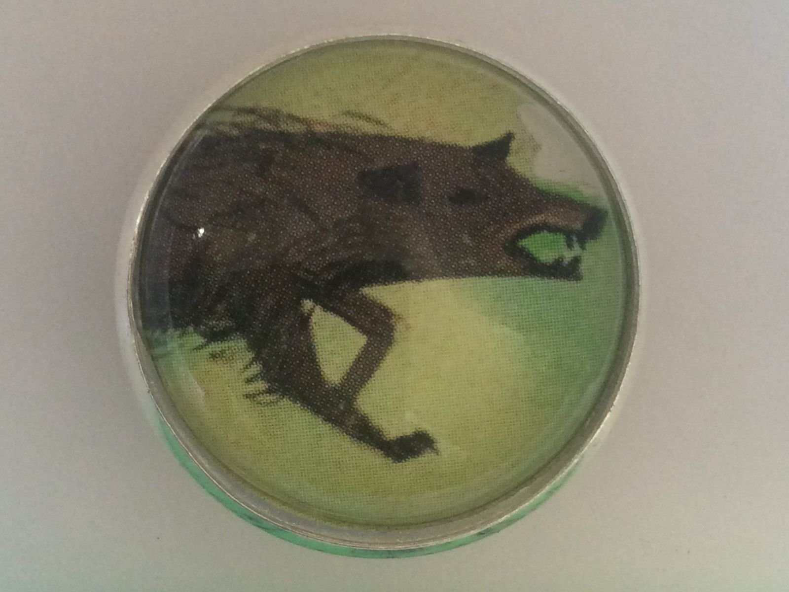 Charley Harper Growling Wolf Canine Wild 1 Glass Sewing Button Charles AK32