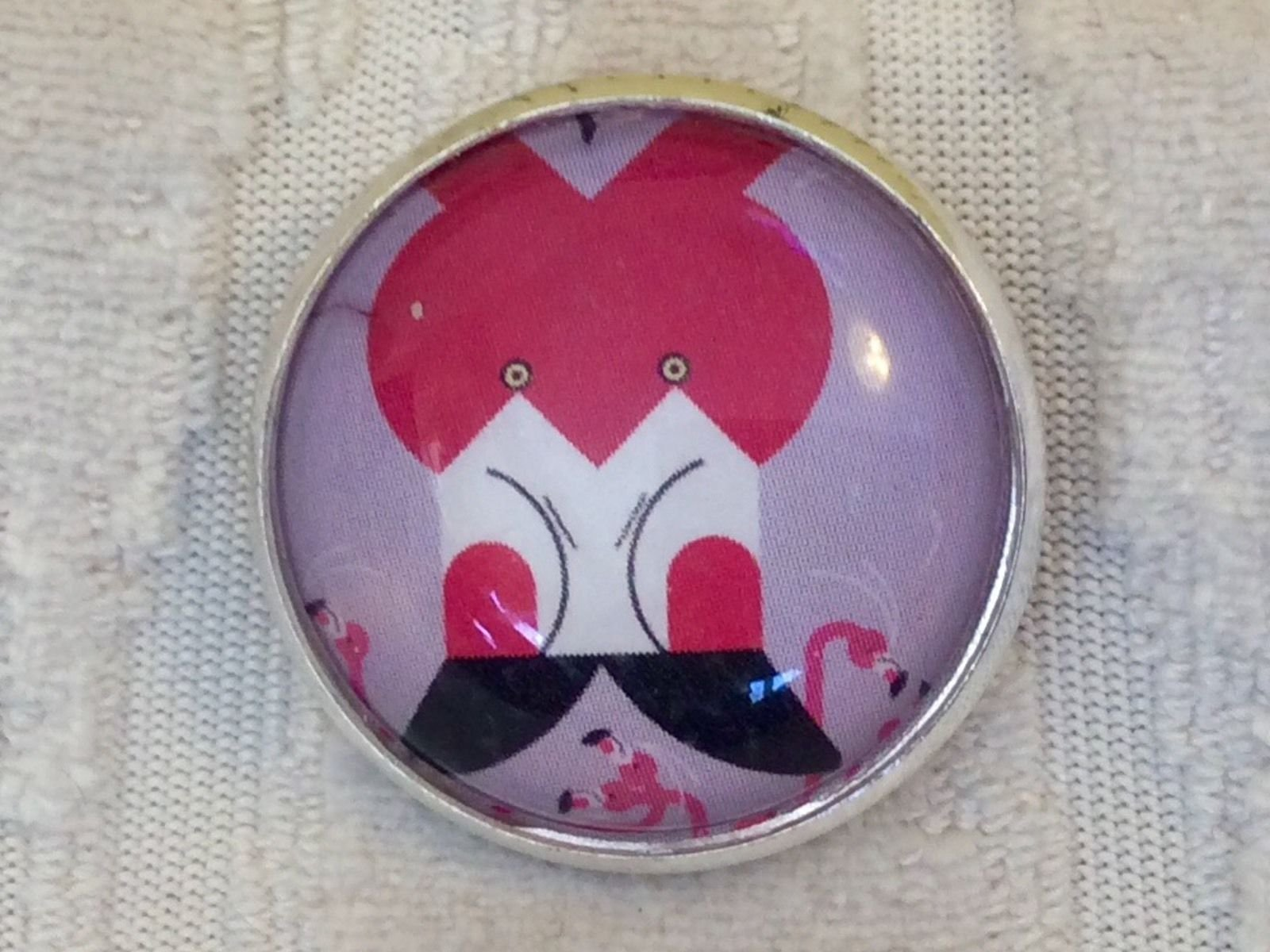 Charley Harper Flamingo Bird  1 Glass Dome Metal Sewing Button Charles AK78