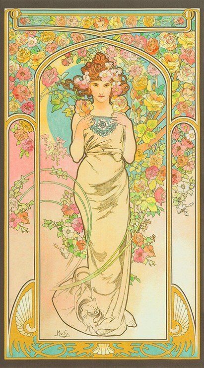 Alphonse Mucha Art Nouveau Paris Czech Artist Rose Flower Series Artwork Panel Cotton Quilt Fabric RK196