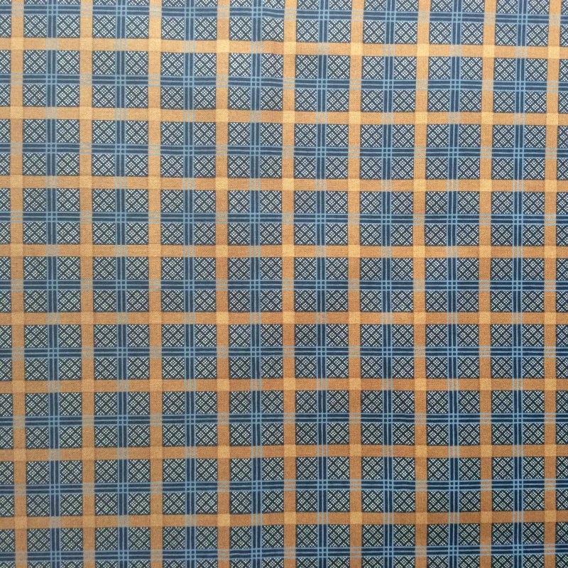 AN21 Navy Blue and Gold Plaid By the Yard Crafting Quilting Cotton Quilt Fabric
