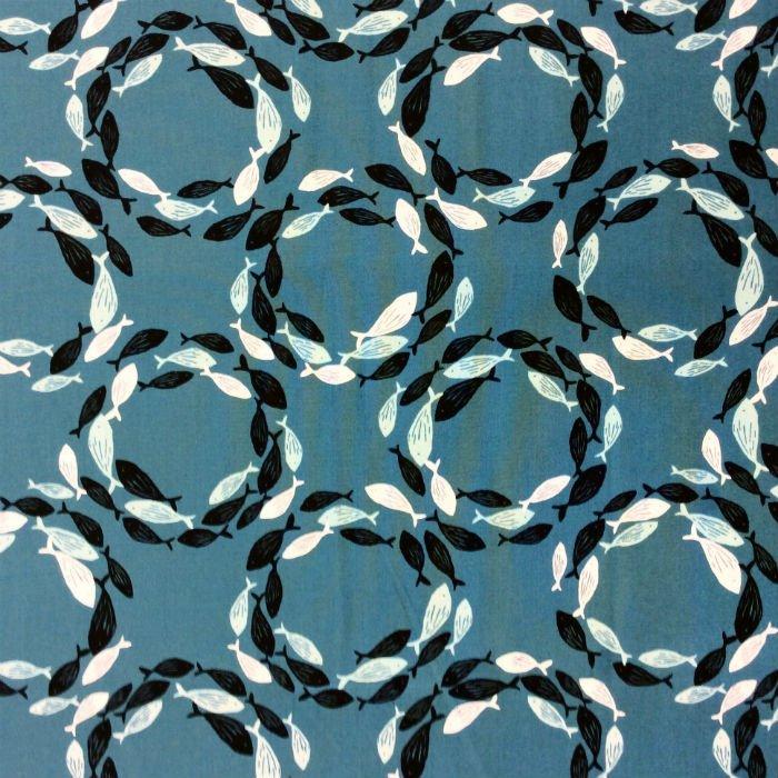 School Of Fish Whirlpool Ocean Sea Life Modern Art Cotton Quilt Fabric AN44