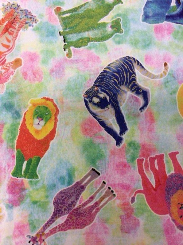 Kokka Watercolor Safari Animals Japan Lion Tiger Giraffe Neon Cotton Quilt Fabric EK09