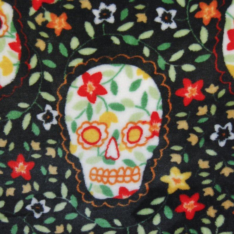 APL101 Sugar Skulls Dia De Los Muertos Day of the Dead Soft Fleece Fabric