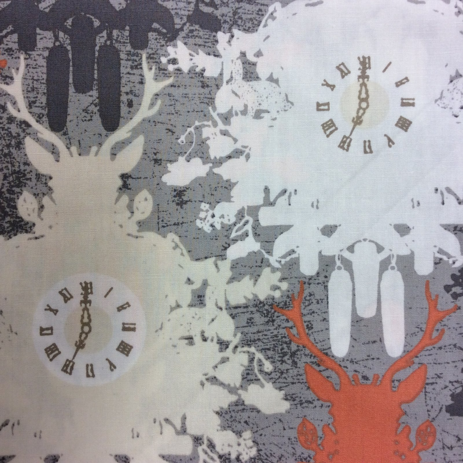 Black Forest Deer Cuckoo Clocks Hunting Forest Autumn Cotton Quilt Fabric AR11