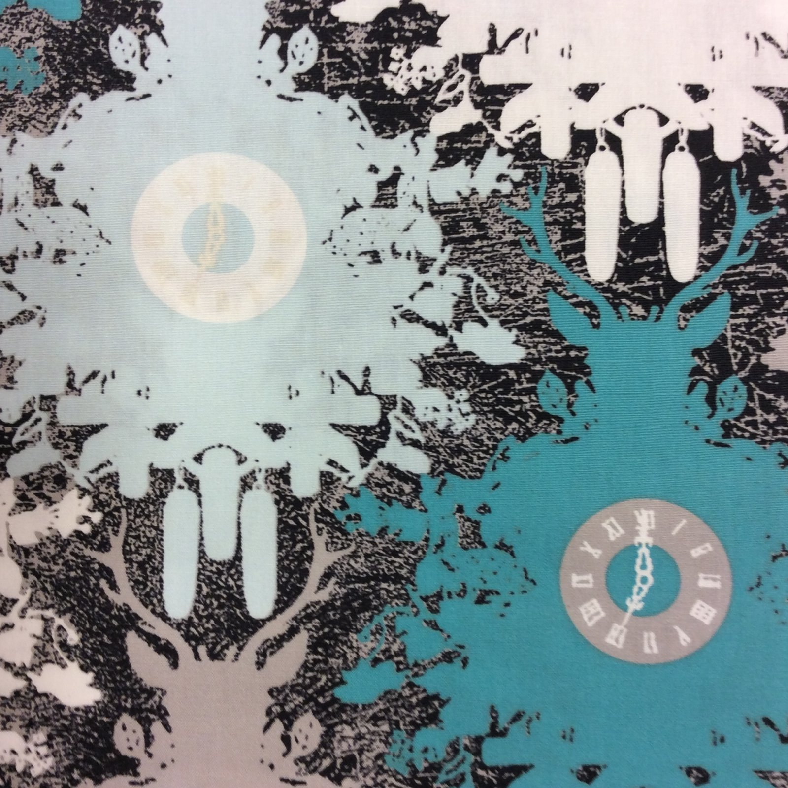 Deer Time Clocks Winter Illusion Hunting Forest Snow Quilting Cotton Fabric AR12