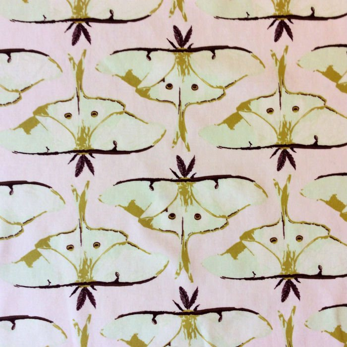 AR29 Luna Moth Bug Insect Forest Leaves Nature Woods Spring Cotton Quilt Fabric