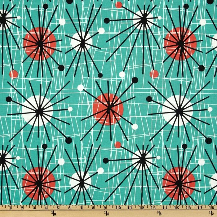Atomic Era Sputnik Mid Century Modern Retro Kitschy Cotton Quilt Fabric CHE003