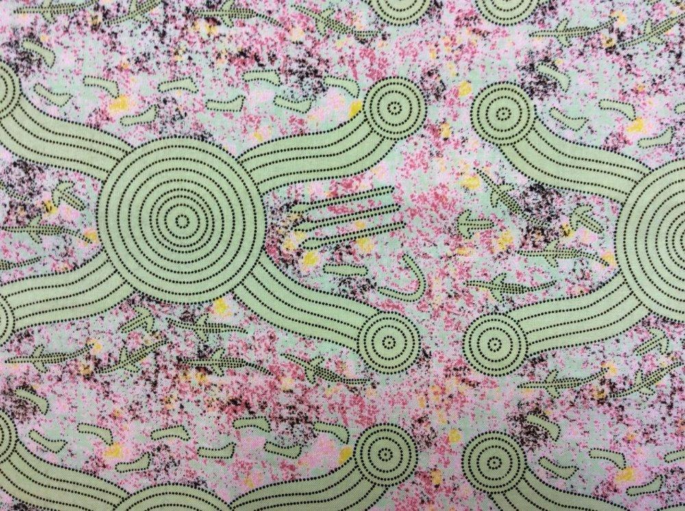 Australian Art Aborigine Men Hunting Kangaroo Abstract Cotton Quilt Fabric AU01