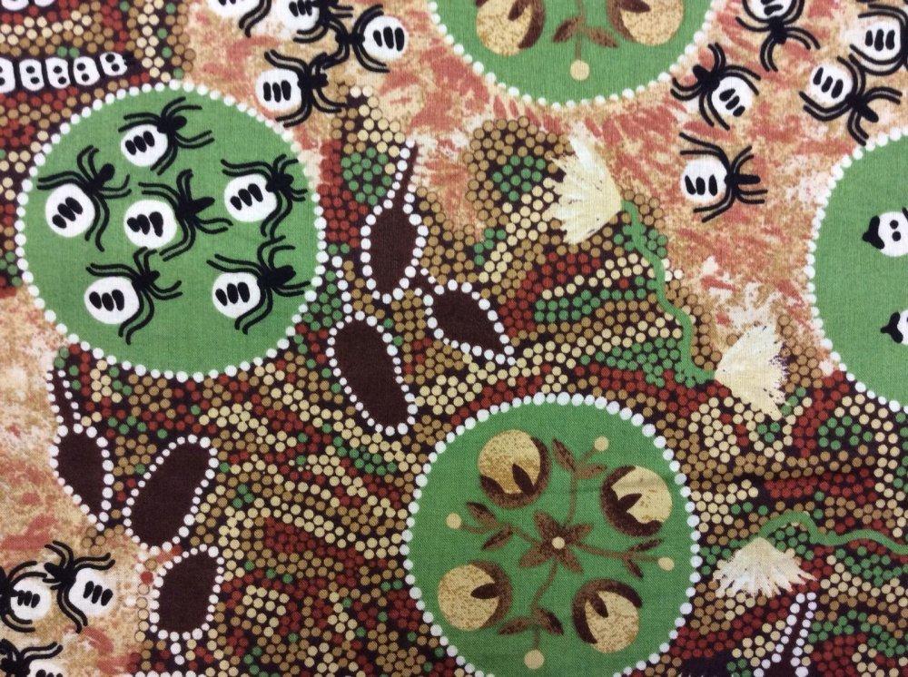 Bugs And Seeds Australian Artwork Aborigine Cotton Fabric Quilt Fabric AU07