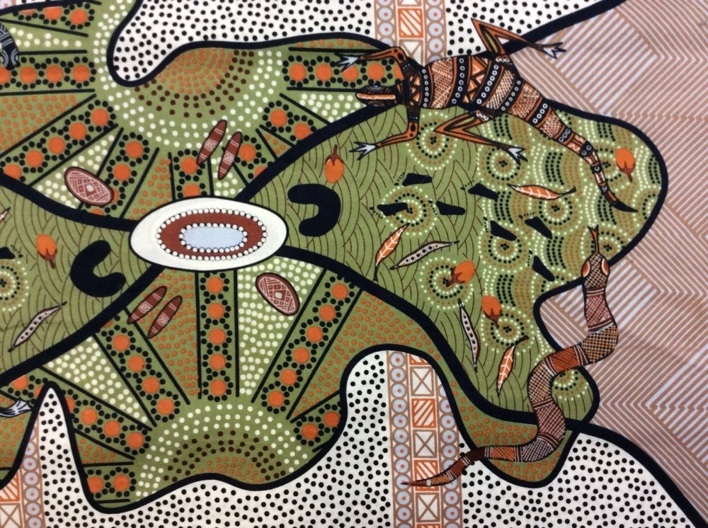 Last Piece! Sold by the Piece 22 x 44 Around Waterhole Australian Artwork Aborigine Water Lizard Snake Cotton Quilt Fabric AU09
