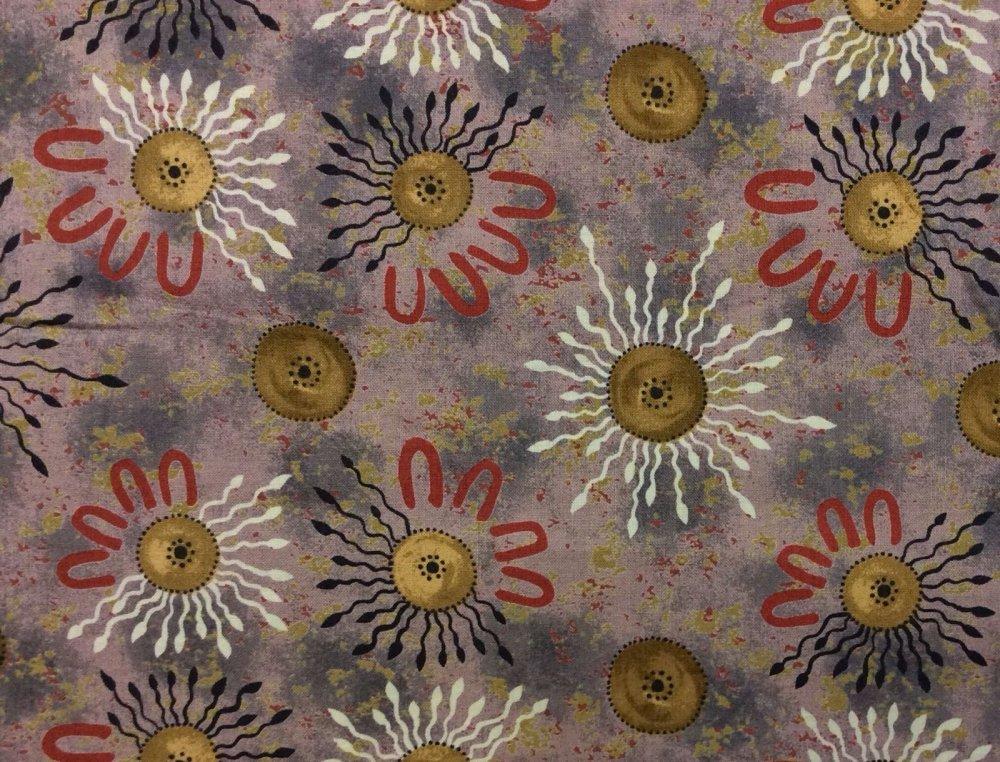 Onion Dreaming Australian Art Aborigine Cotton Fabric Quilt Fabric AU10