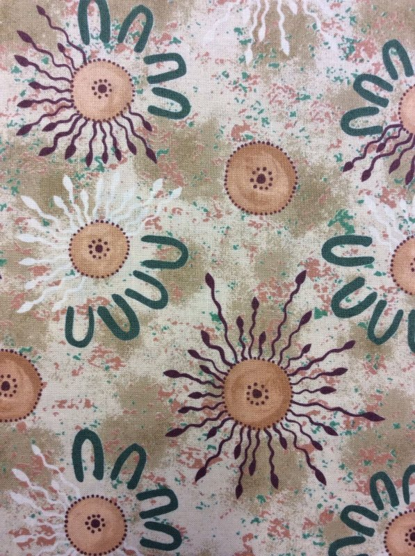 Onion Dreaming Neutral Australian Art Aborigine Cotton Fabric Quilt Fabric AU12