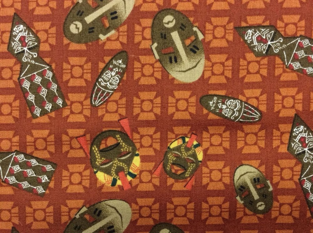 African Tribal Ritual Masks Folk Art Cotton Quilt Fabric AV01