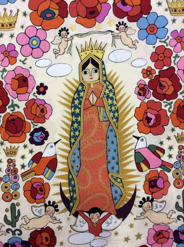 Rare! Out of Print! Last Piece! 39 x 44 'la virgencita' Alexander Henry Our Lady Religious Floral Baby Cherubs Crowns Cotton Fabric Quilt Fabric RPFF07