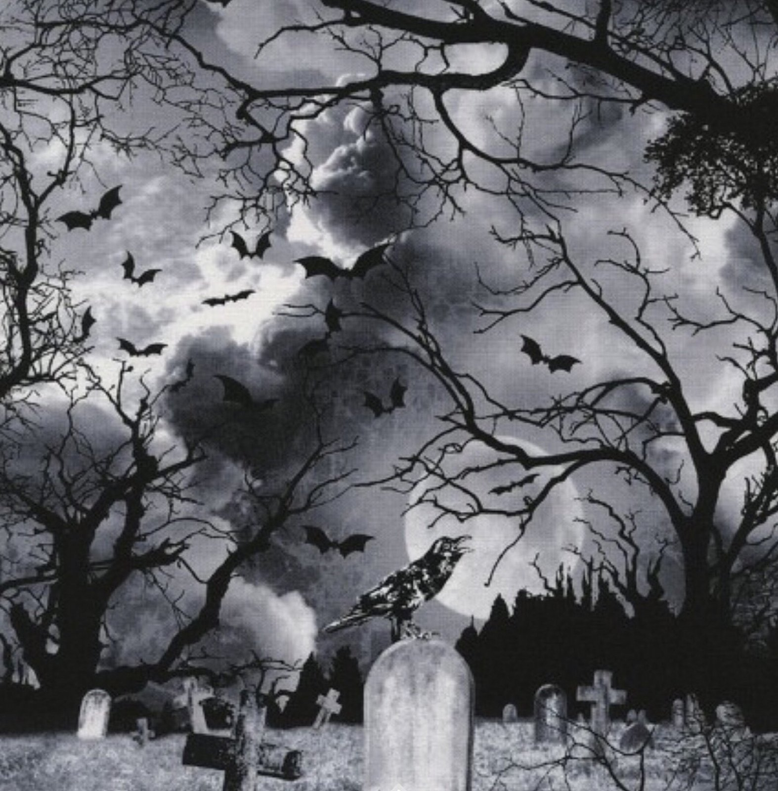 COMING SOON! Goth Horror Haunted Night Graveyard Raven Tombstone Cotton Quilt Fabric