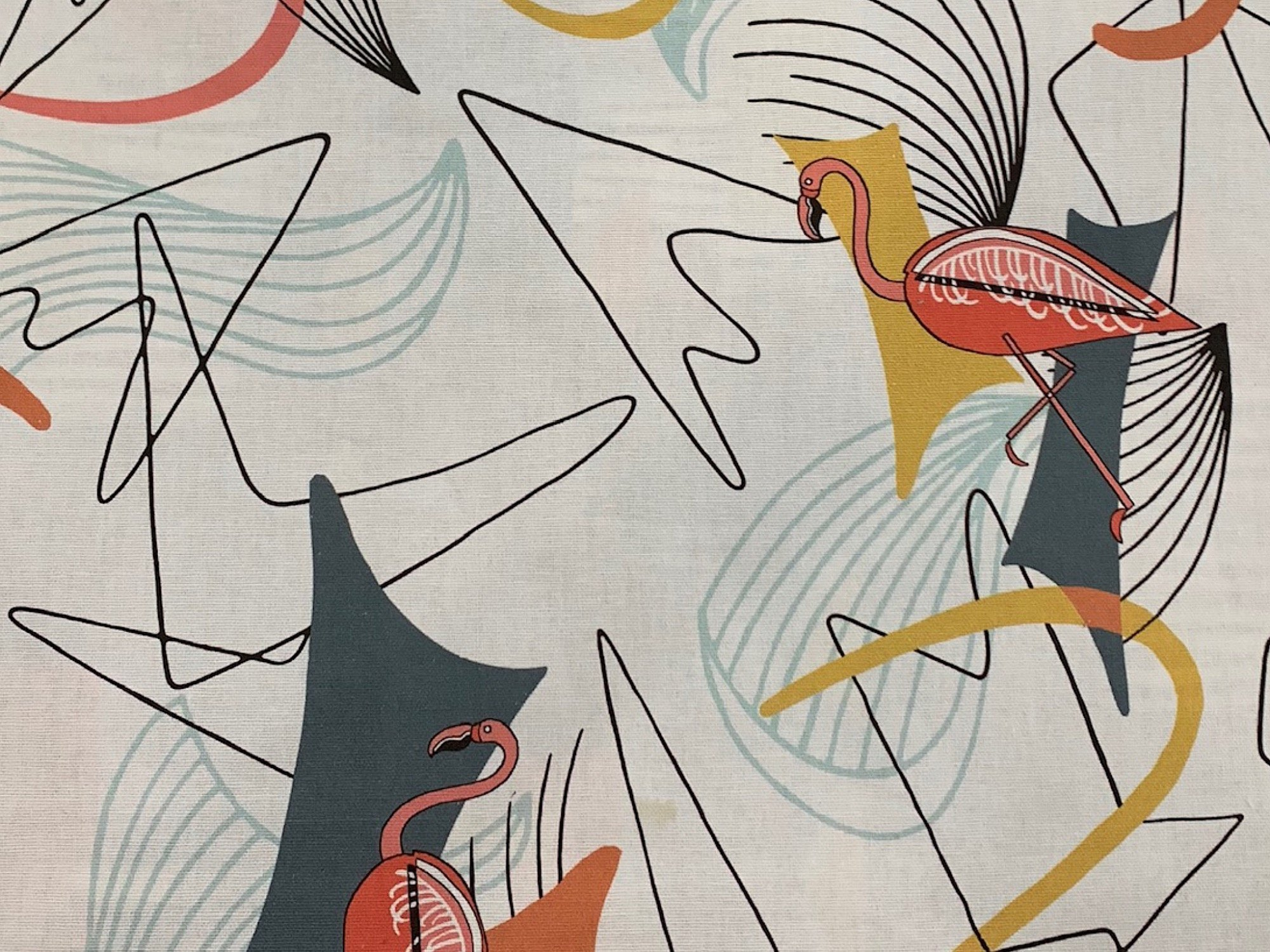 Coming Soon! Atomic Retro Mid Century Modern Flamingo Guitar Boomerang Sputnik Space Age MCM Cotton Fabric Light Weight Canvas
