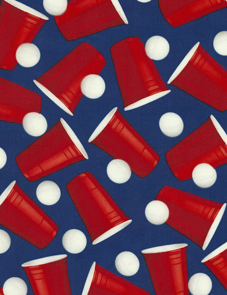 Beer Pong Drinking Games Ping Pong Bar Sports Cotton Quilt Fabric FT133