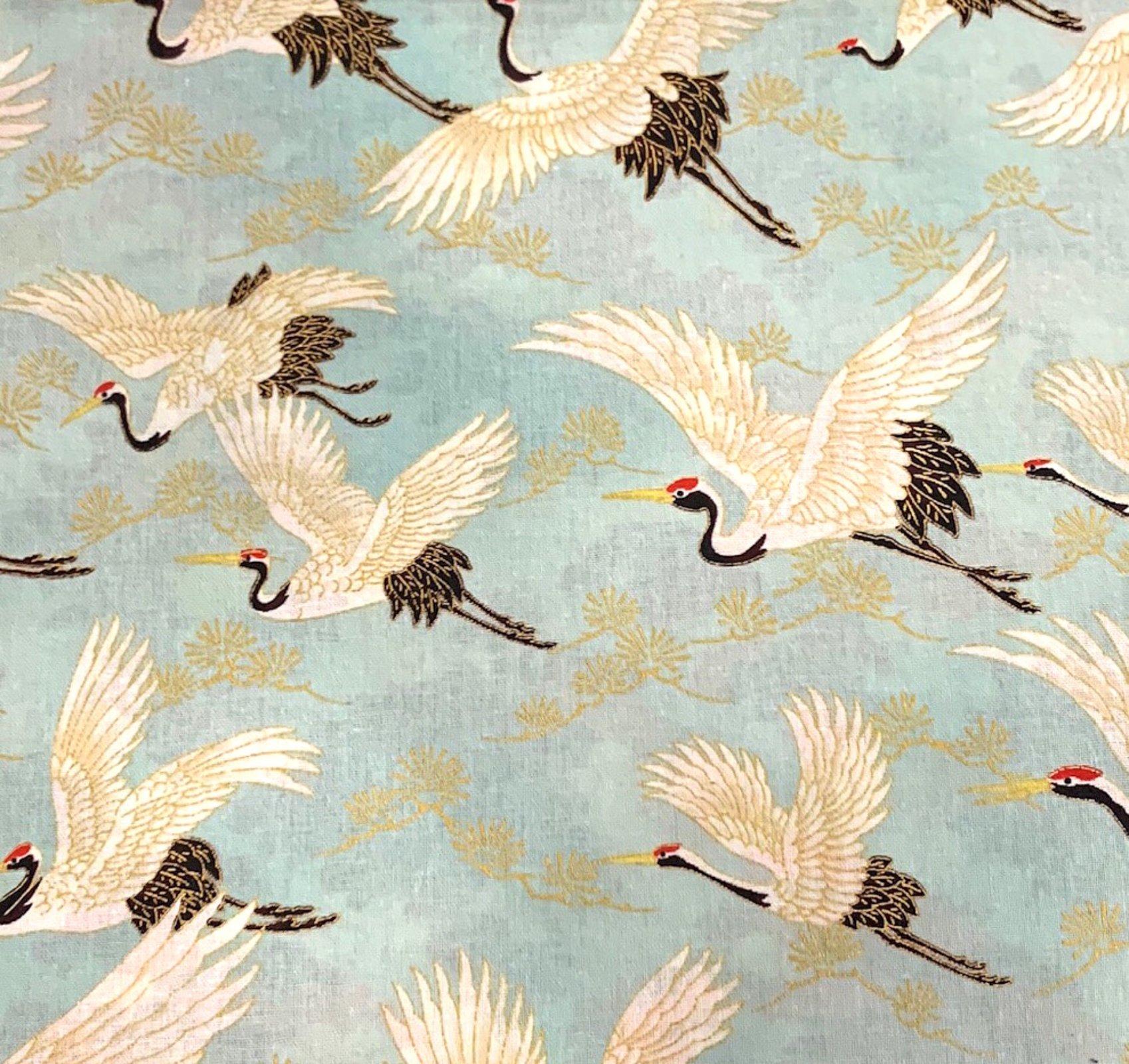 COMING SOON! Japanese Asian Cranes Water Birds Obi Print Cotton Quilt Fabric