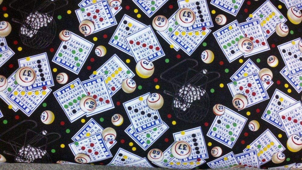 Bingo Game Bingo Card Ball Basket Cotton Quilting Fabric ES03