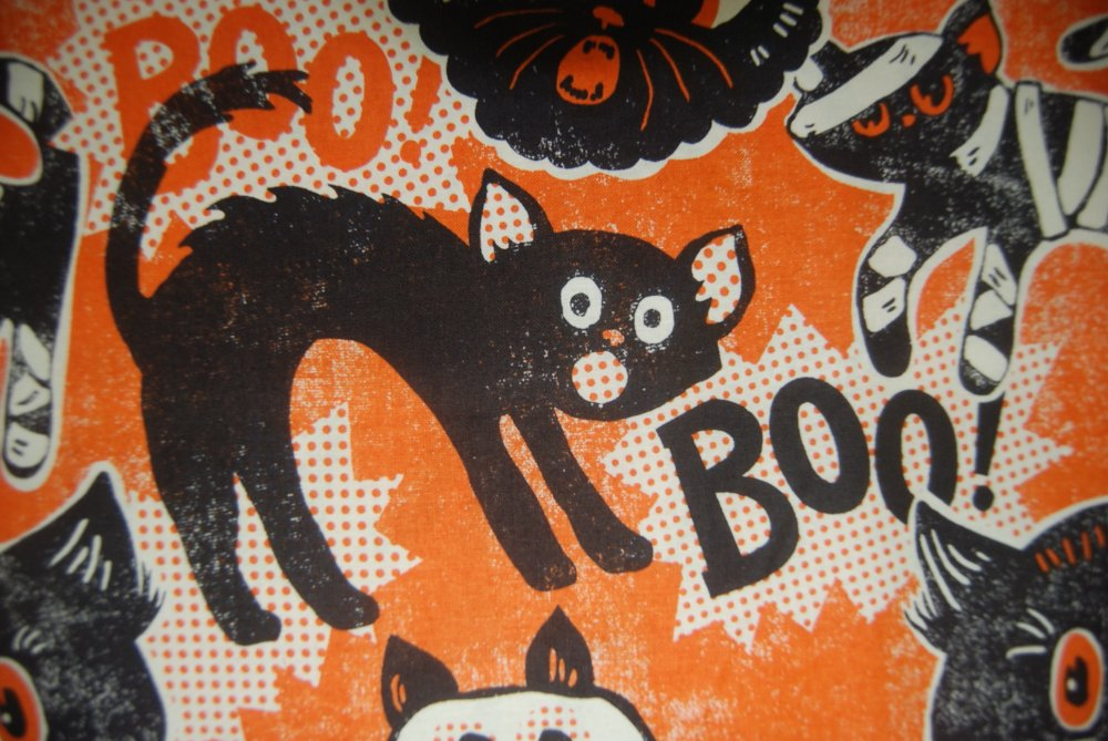 BL03 Halloween Kitty Cats Ghost Mummy Boo Orange Quilting Cotton Quilt Fabric