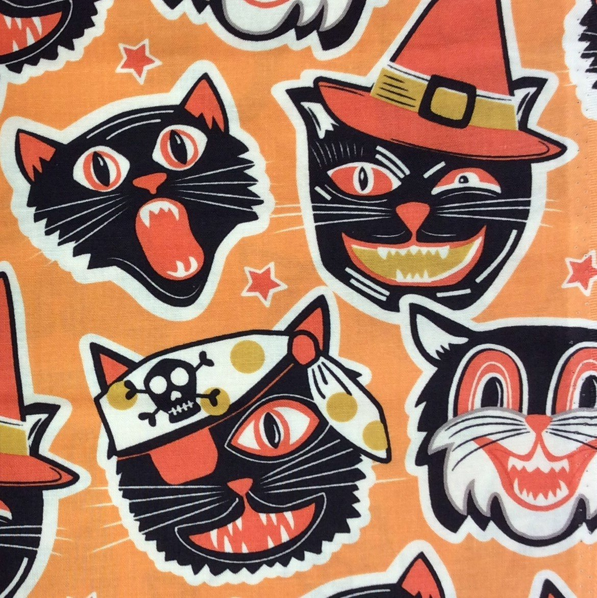 BL07 Costume Cats Quilting Cotton Halloween Scary Cute Retro Pirate Witch