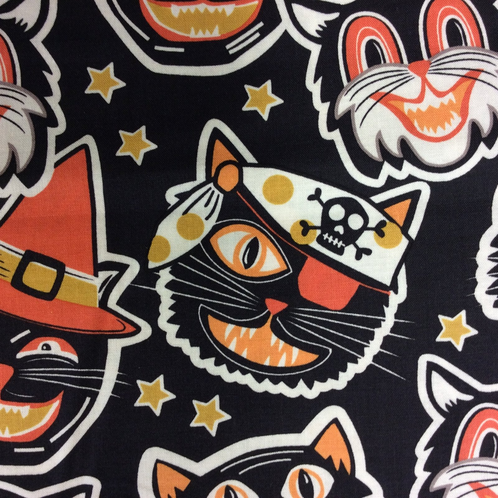 BL08 Costume Cats Quilting Cotton Halloween Scary Cute Retro Black Pirate Witch