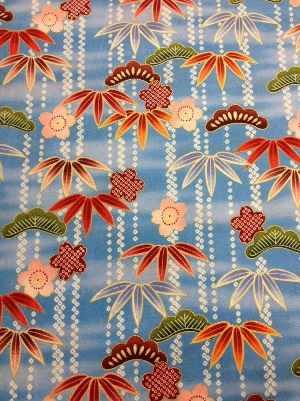 Japanese Kona Bay  Secret Pond Asian Flowers Japan Blue Cotton Fabric Quilt Fabric KB05