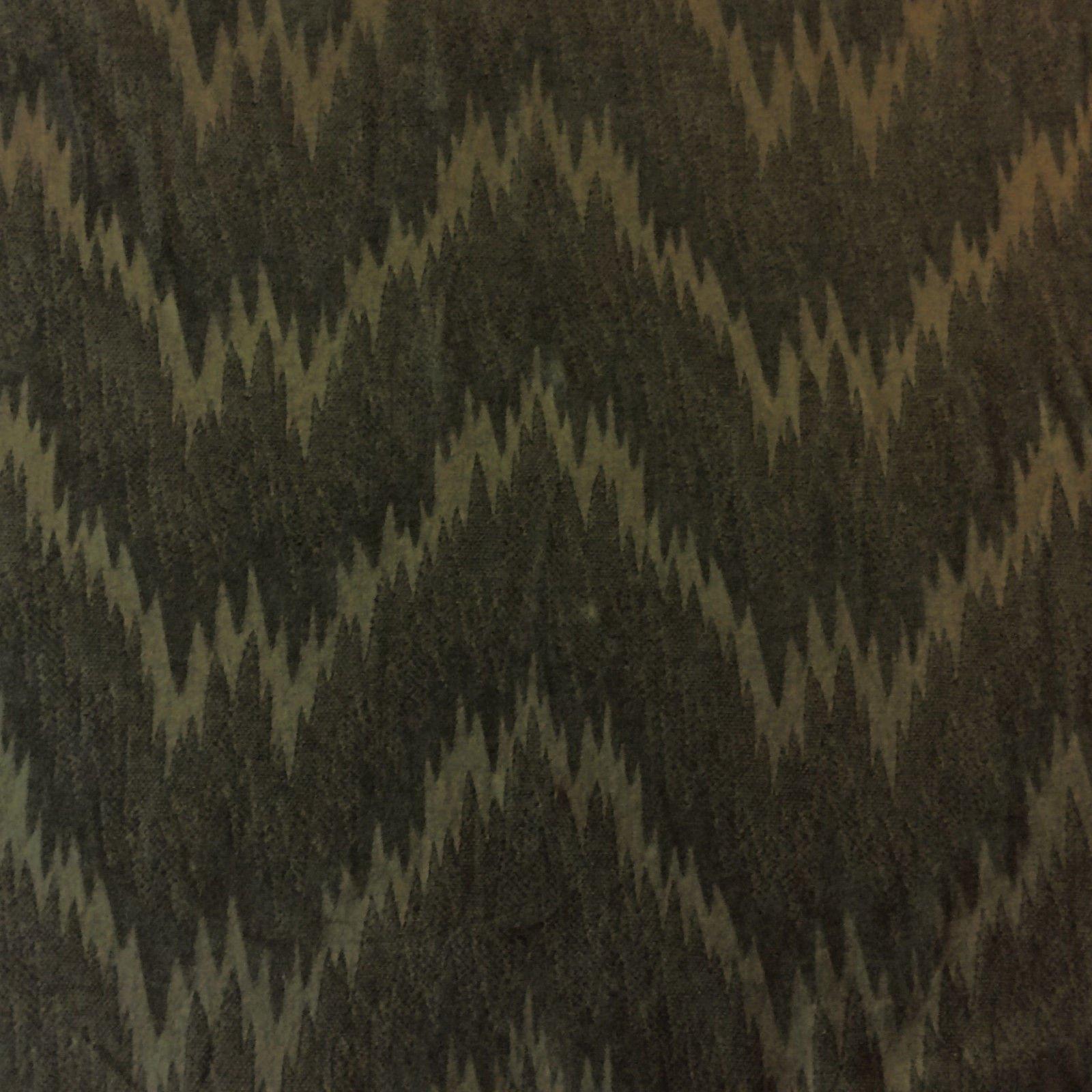 Brunschwig & Fils Heavy Seratta Cut Velvet Dark Olive Brown Flamestitch Design Pattern Cotton Velvet Fabric WB47
