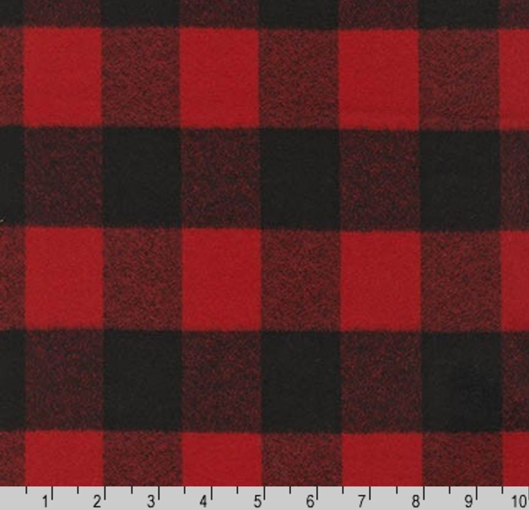 Buffalo Plaid Red Black Check Classic Flannel Cotton Flannel Fabric RK178