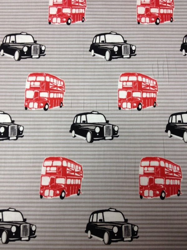 Union Jack Brittish Taxi Double Stacker Bus Cool Cotton Fabric Quilt Fabric RB20