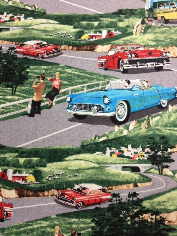 Retro Cars Autmobiles Vintage Cars Kitschy Cotton Fabric Quilt