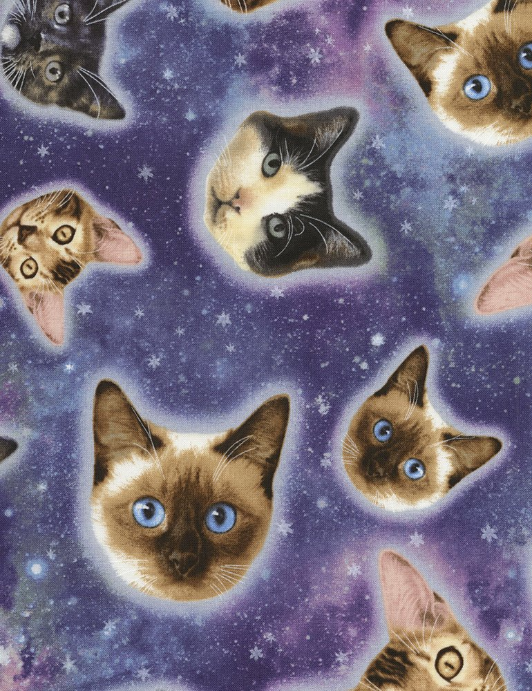 Kitty Cat Galactic Kitty Space Stars Galaxy Far Out Felines Cotton Quilt Fabric TT108